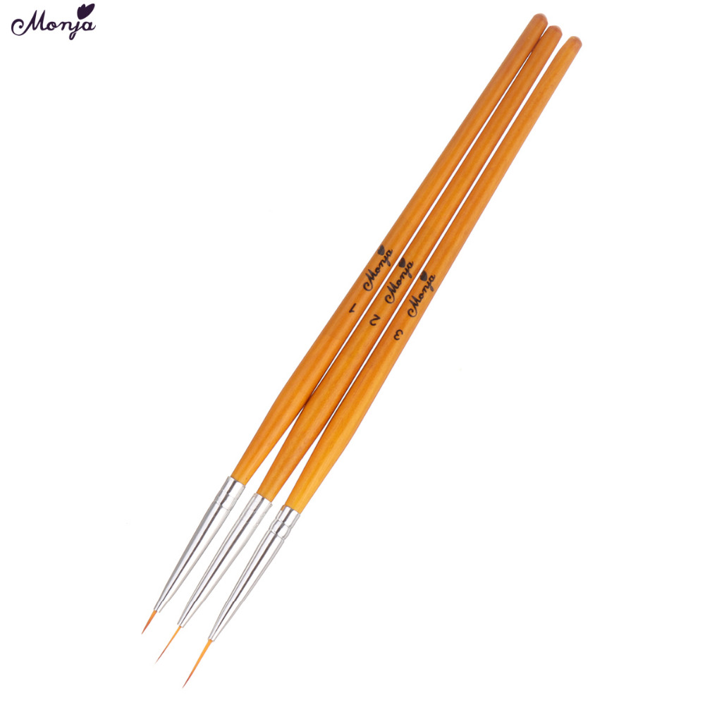 Monja 5/8/12mm 3pcs Nail Art Liner Brush French Line Flower Grid Image Painting Drawing Pen Manicure Tool Kit