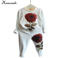 Girls Clothing Sets 2016 Winter Wool Sportswear Long Sleeve Rose Floral Embroidered Sequinsets Kids Clothing Sets