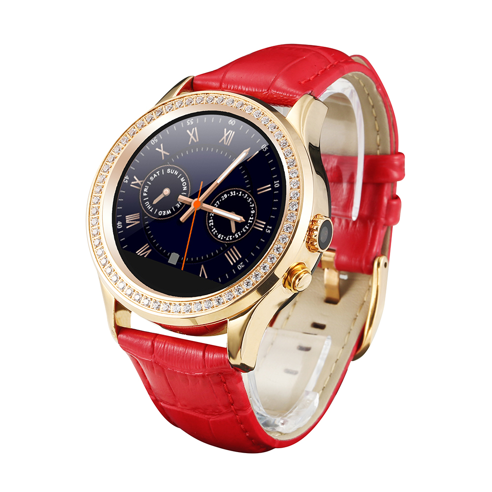 FLOVEME Luxury Woman Bluetooth Smart Watch Intelligent WristWatch for Apple Iphome Samsung IOS / Android Leather Smartwatch