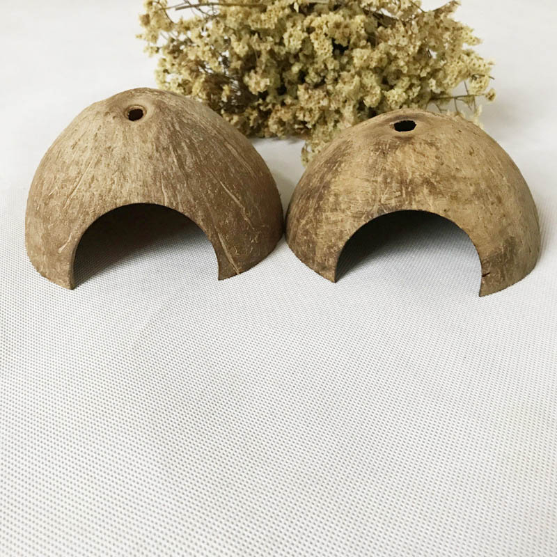 Natural Coconut Lizard Spider Habitat Turtle Shrimp House Reptile Hide Cave Aquarium Fish Tank Decor Hot Sale
