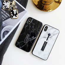 9 H закаленное стекло Футляр для телефона для iphone X 6s 6 7 8 Plus XS MAX XR модное Мраморное Силиконовое кольцо спрятать стенд держатель задняя крышка