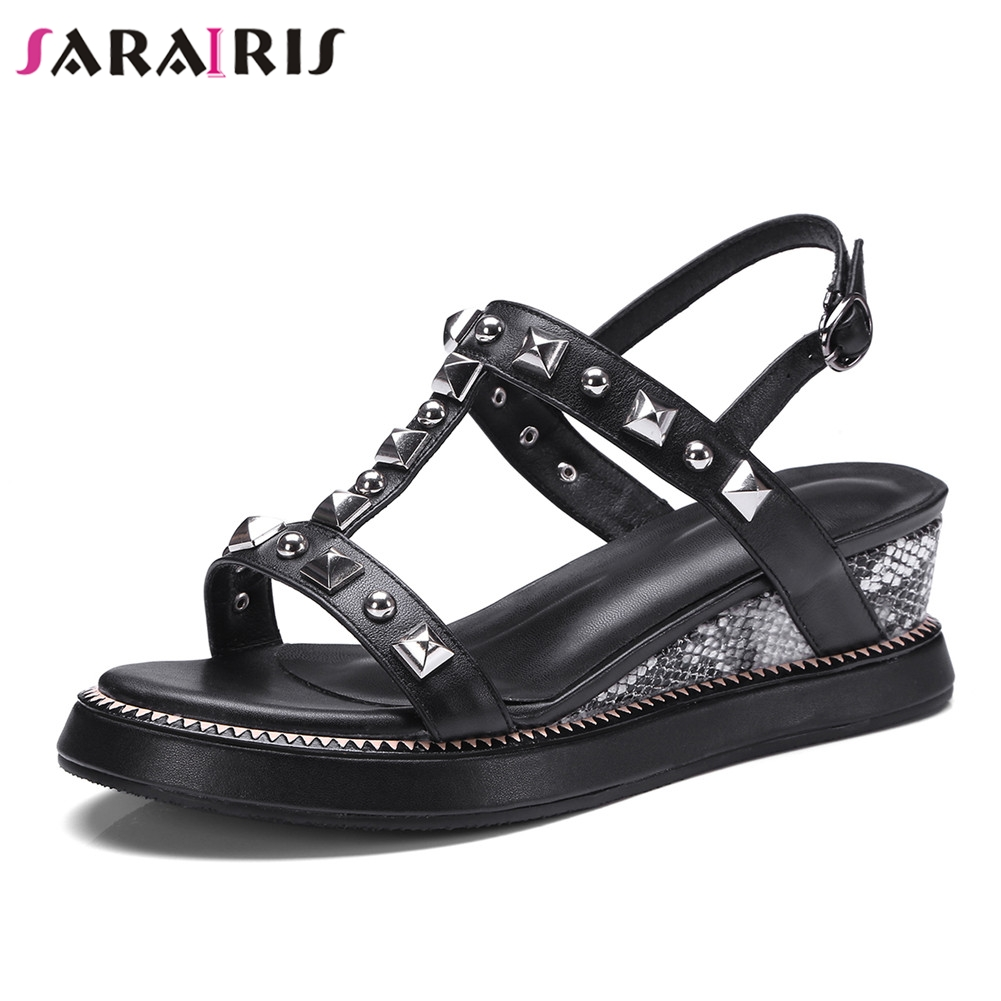 SARAIRIS New Fashion womens Genuine Leather Rivet Ladies Wedges High Heels Shoes Woman Casual Party Ol Summer Sandals 2019SARAIRIS New Fashion womens Genuine Leather Rivet Ladies Wedges High Heels Shoes Woman Casual Party Ol Summer Sandals 2019