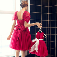 Family Matching Outfits Dress Mother Daughter Matching Dresses for PartyBrand Mom and Girl Daughter Red Eveing Dresses
