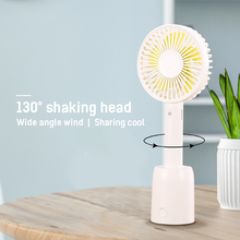 Mini Rechargeable USB Fan Portable head shake Handheld 3-Speed Handy Small Desktop Cooling Cooler