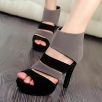 Women Sandals 2017 Summer Fashion Zip Platform Casual Sandals Women High Quality Comfortable Cover Heel Sandalias