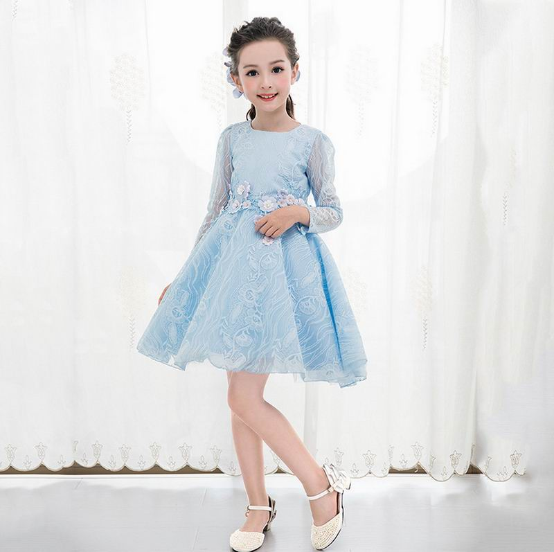 Retail Girls Wedding Dress Water Blue Long Sleeve Ball Gown Dresses for Party Kids Formal Dresses Children Clothes E9682 commercial sea inflatable blue water slide with pool and arch for kids
