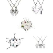 Colar de coração de 2 ou 3 pçs/set, melhores amigos, colar de cristal da moda, com fechamento de chave, joias da moda, homens e mulheres