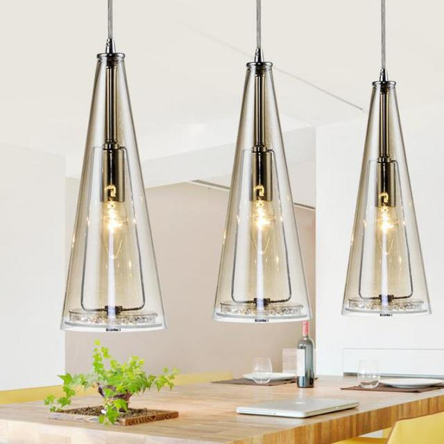 Modern Led glass Pendant Lights for dining room showcase Nordic Restaurant Kitchen 3 pcs glass shade E14 led cone lamp Luminaire