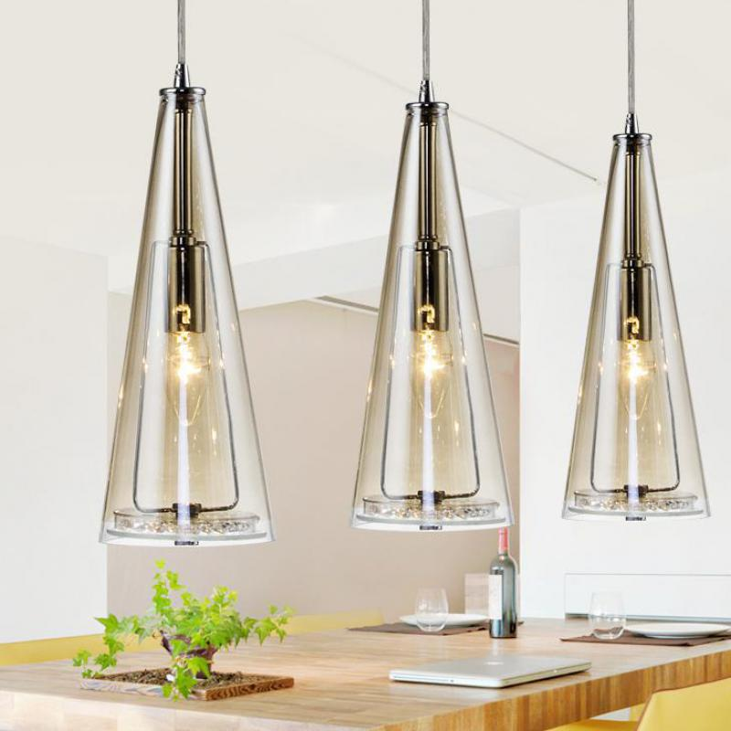 Modern Led Glass Pendant Lights For Dining Room Showcase Nordic Restaurant Kitchen 3 Pcs Glass Shade
