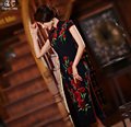 2017 Fashion Improved Sleeveless Long Split Vintage Chinese Cheongsam Long Qipao Dress 5593