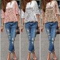 Новые женские блузки рубашки случайные свободные О-Образным Вырезом рубашки женщины твердые половина рукава блузки С Блестками