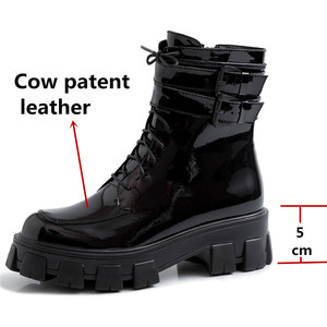 Image 3 - FEDONAS 2020 Winter Warm Punk Cow Patent Leather Women Ankle Boots Lace Up Buckle Short Boots Night Club Party Shoes Woman