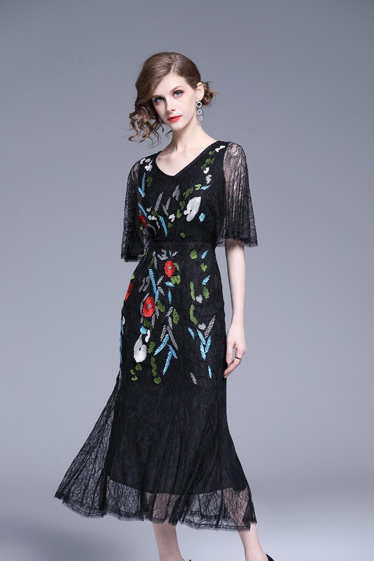 V-Neck Floral Embroidered Lace Dress 7