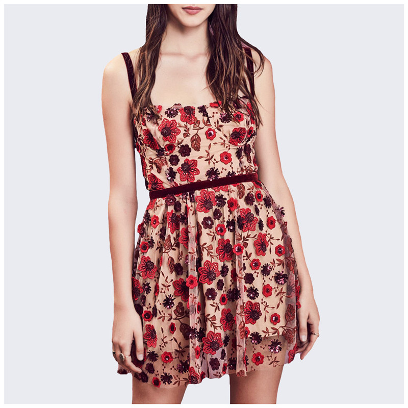 2019 beach summer dresses Floral Embroidery dress