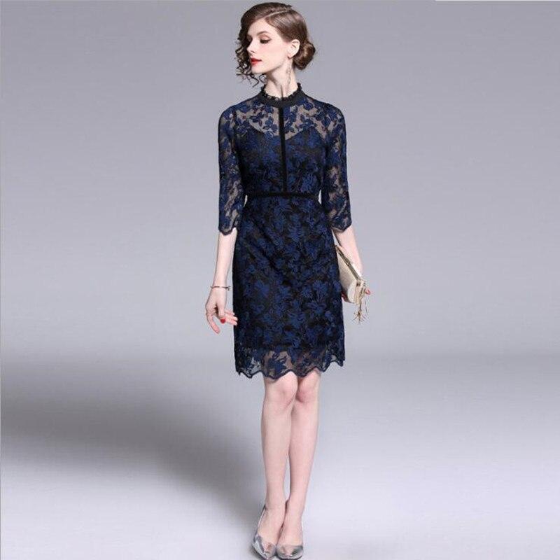 Rétro nouveau femmes bleu rose dentelle brodé velours tempérament robe offre spéciale livraison gratuite z-5-QM538