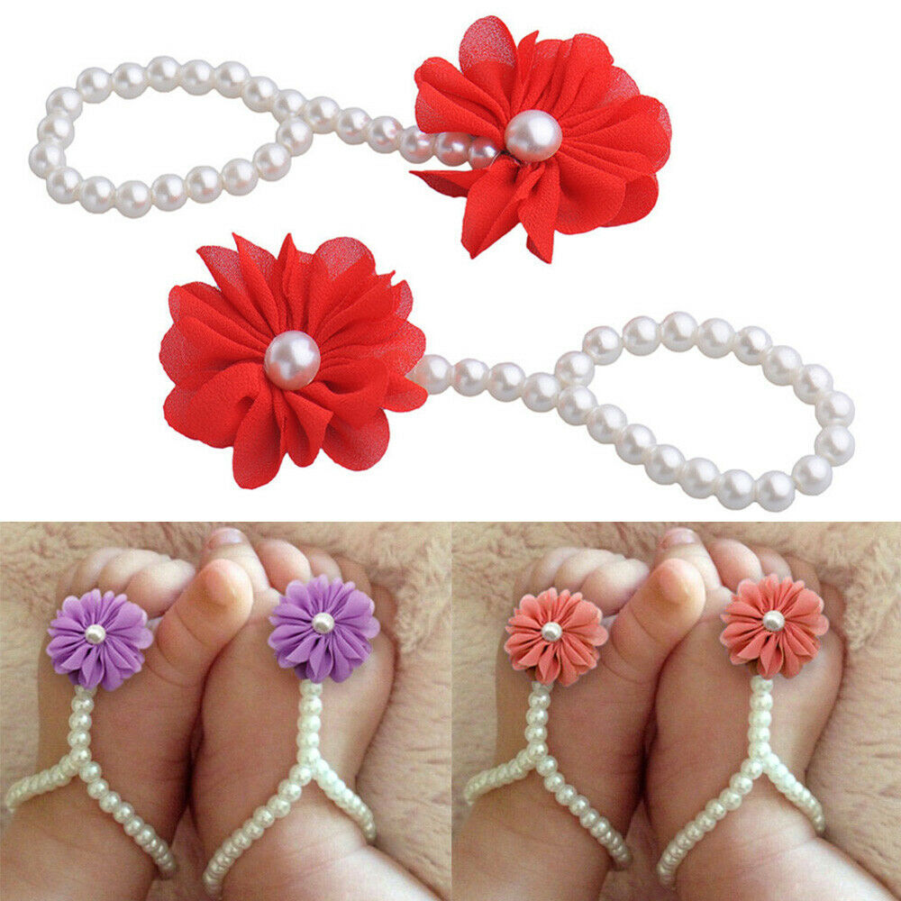 Toddler Baby Girl Infant Crib Barefoot Ring Sandals Flower Anklet Pearl Shoes