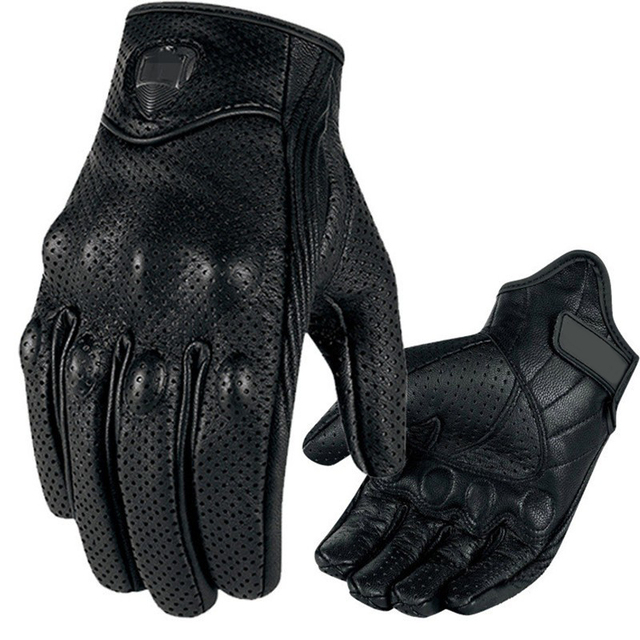 CAR-partment Men's Perforated Real Leather Motorcycle Gloves Moto Waterproof