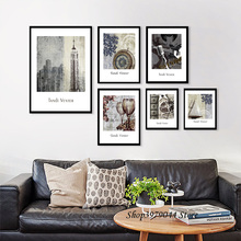 Nordic Poster Decoration Home Vintage poster New York Wall Pictures London Kitchen Wall Art Print Canvas Painting Unframed the morning of city london new york vintage poster art canvas painting wall picture print modern home room decoration unframed