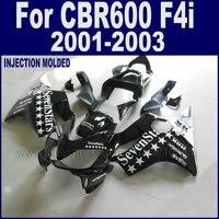 Motorcycle Injection molding fairings kit for Honda CBR 600 F4i 2001 2002 2003 cbr 600 f4i 01 02 03 black sevenstars fairing kit