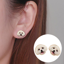 Fashion Designed Cute  Oil Painting Happy Dog Head Earrings