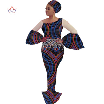 Bazin Riche African Print Evening Tassel Long Dresses African Dresses for Women African Clothes lantern Sleeve Dresses WY3664