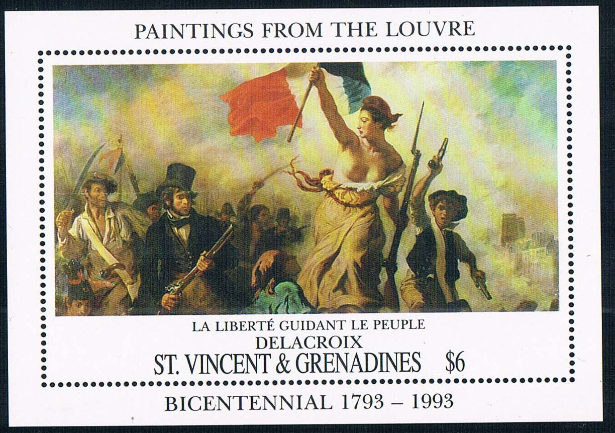 DA1243 the 1993 Delacroix painting Liberty Leading the people the new M 1008 karen cvitkovich leading across new borders