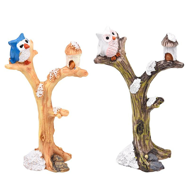 2pcs/lot Cute Owl Tree Miniature Garden Decoration Vintage Cartoon Animals Figurines Fairy Modern Home Decorations Accessories 4