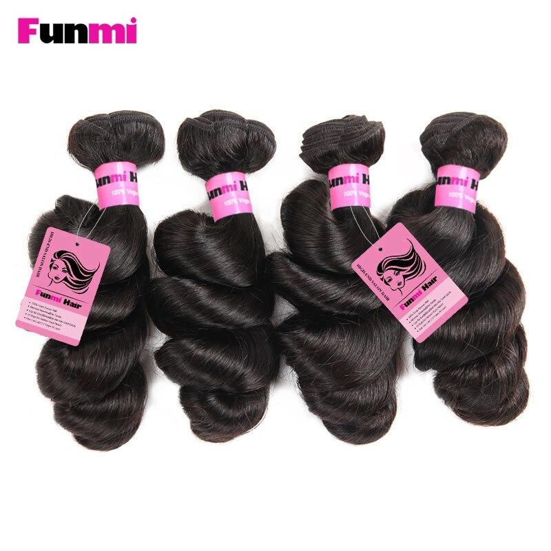 Funmi Peruvian Virgin Hair Loose Wave Human Hair Extensions 100% Unprocessed Virgin Hair 4 Bundles No Tangel For Hair Salon