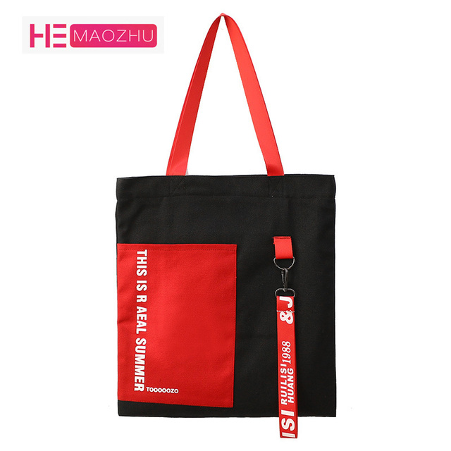 cd7732fd4c HEMAOZHULetter Canvas Bag 2018 Casual Hit Color Hoop with Portable Shopping Bag  Student Auxiliary Bag Shoulder Portable Tote bag