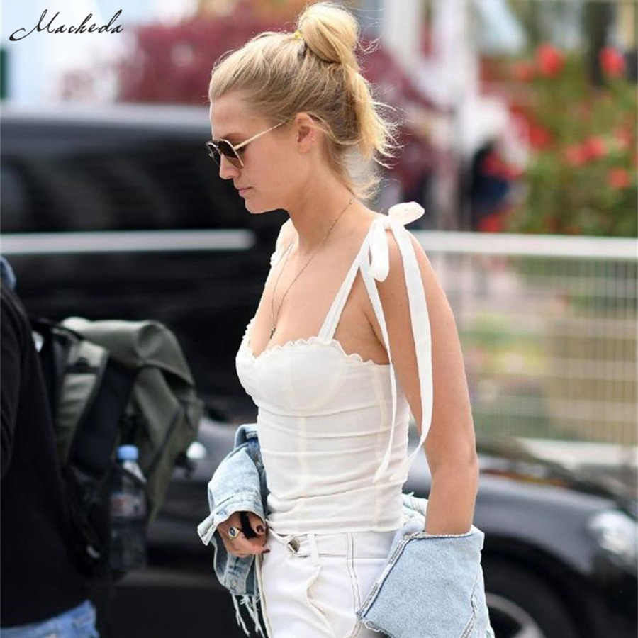 Macheda Fashion Lace Up Crop Top Frauen Ärmelloses Schlank Weiß Cropped Tank Top Dame Sommer Casual Tops Für 2019 Neue