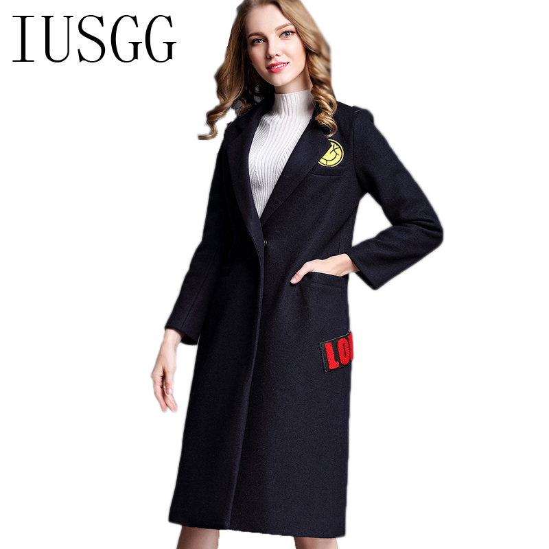Autumn Women Coats European Fashion Female Woolen Jackets Embroidery Outwear Winter Navy Blue Cashmere Coat femme
