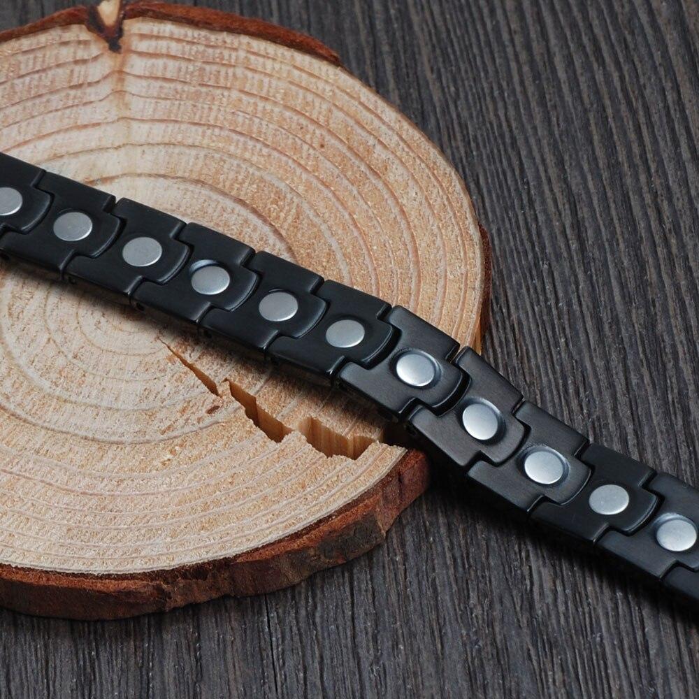 Wollet Mens Healing Christmas Gift High Quality Black Gun Magnetic Pure Titanium Bracelets Bangle for Men