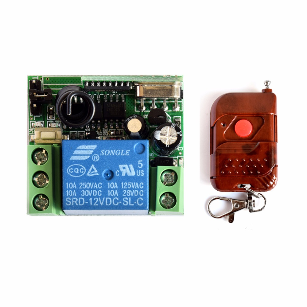SMARSECUR DC 12v 10A Relay 1CH Wireless RF Remote Control Switch Controller Transmitter + Receiver dc 12v 10a relay 1ch wireless remote control switch transmitter receiver
