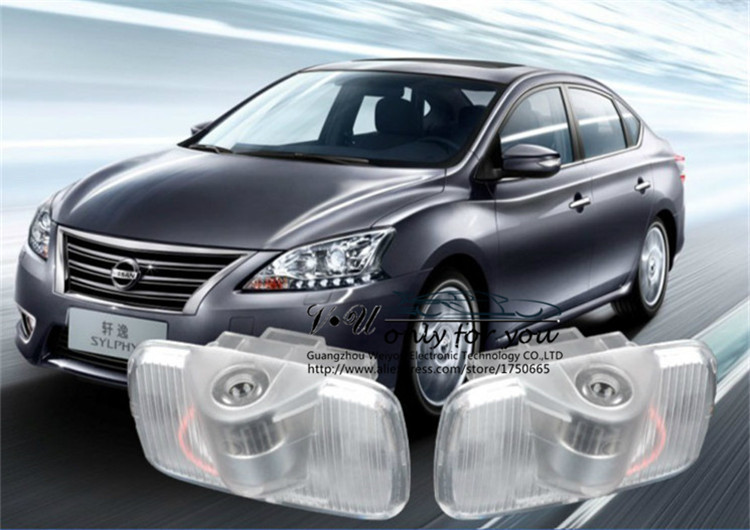 NO drill Wireless LED Car Door Light Logo Projector Welcome Ghost Shadow for NISSAN Murano SYLPHY old TEANA GT-R
