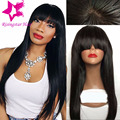 7a virgin brazilian glueless straight full lace human hair wig with bangs straight chinese bang lace front wigs for black women