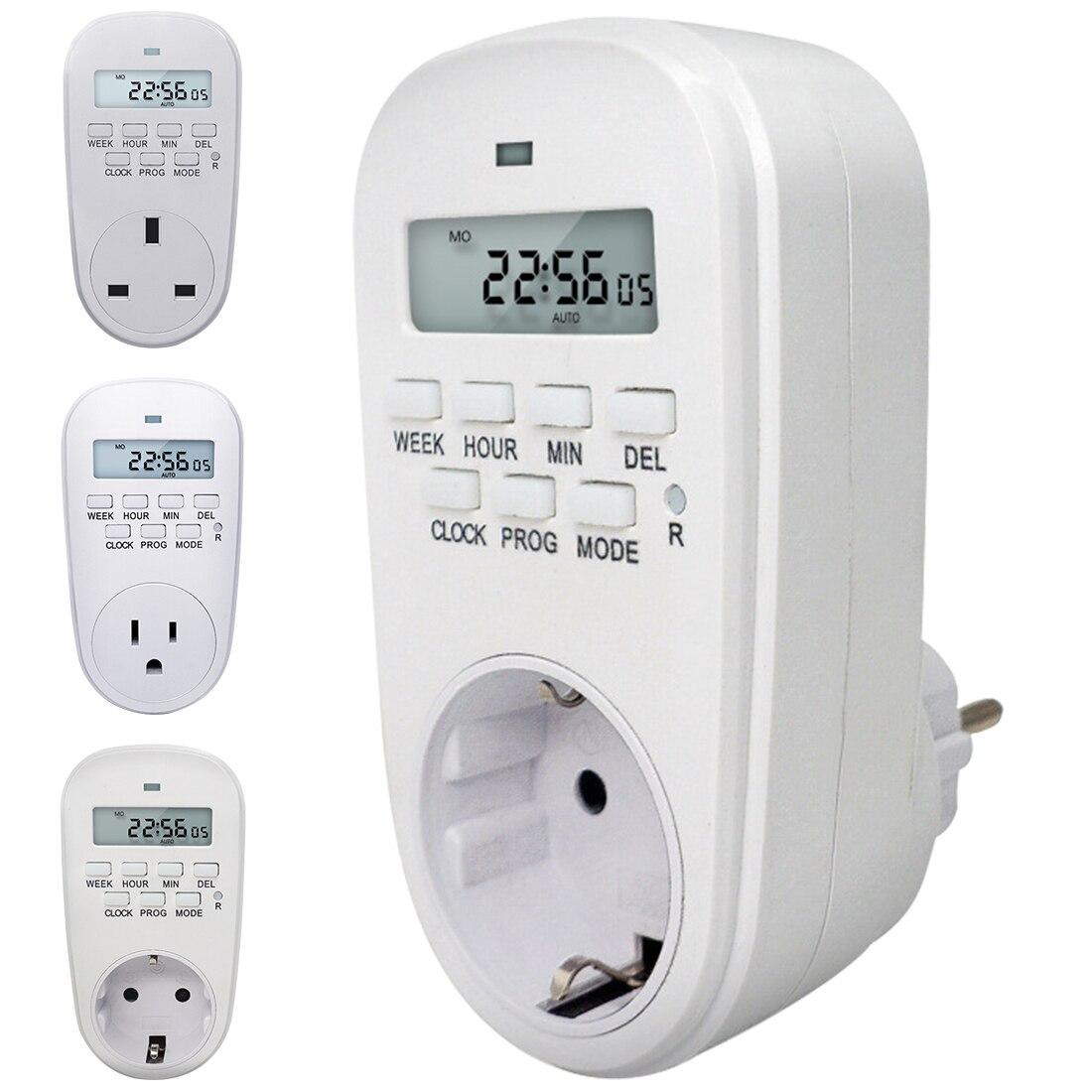 Digital Programável Interruptor Do Temporizador de Poupança de Energia Ajustável Ajuste de Relógio/Tempo On/Off DA UE/EUA/REINO UNIDO plugue Soquete Do Temporizador Da Cozinha