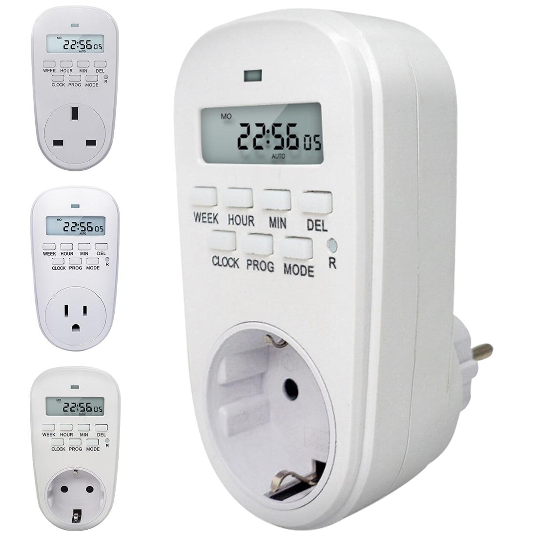 Digital Timer Switch Energy Saving Adjustable Programmable Setting of Clock/ On/ Off Time EU /US/ UK Plug Kitchen Timer Socket