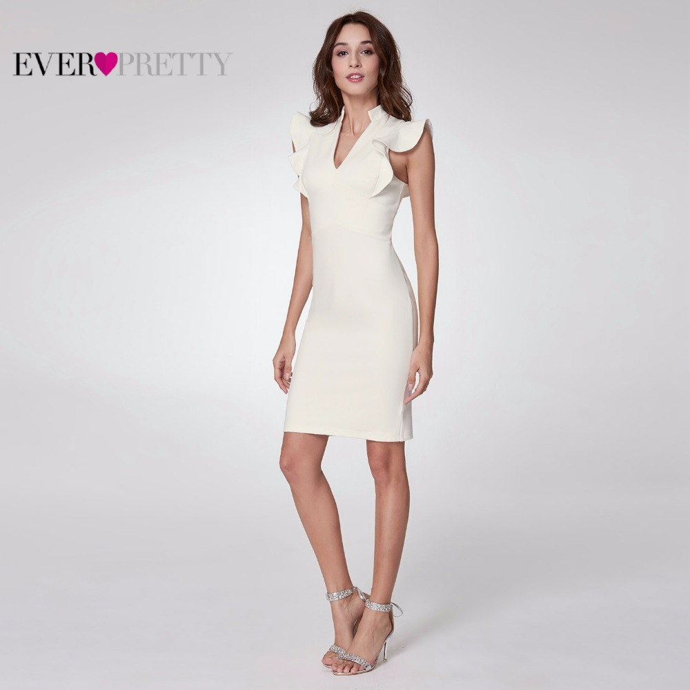 Ever-Pretty 2019 Women Elegant Cocktail Dresses A Line Ruffles V-Neck Sleeveless White Party Club Cocktail Dress EP05967WH
