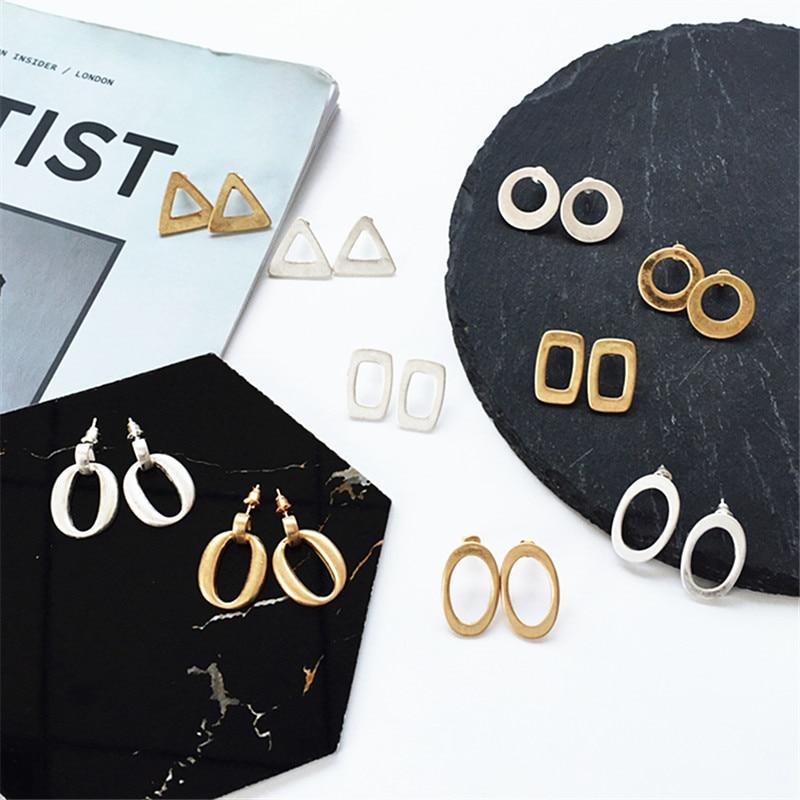 kshmir Geometric circular triangle earrings exaggerated personality Hipster retro metal geometry temperament Earrings female in Stud Earrings from Jewelry Accessories