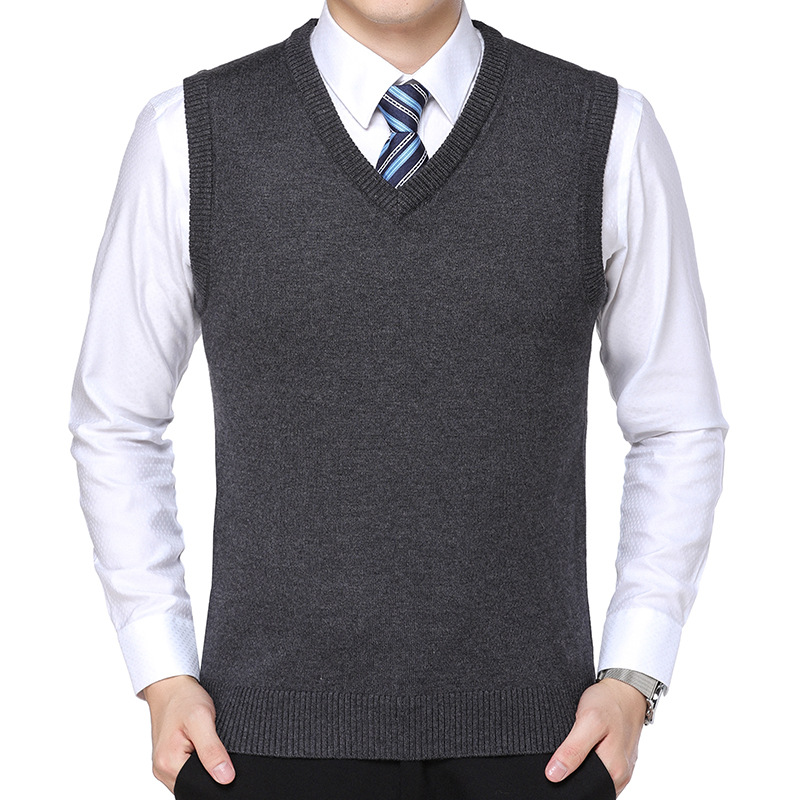 Classic New Cotton Knitted Pullover Men V-Neck Sleeveless Formal Business Pull Homme Casual Solid Sweater Men Thin Sweaters Vest