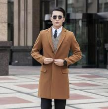 Men's clothing plus size long design wool coat men single breasted khaki outerwear trench coats mens overcoat casaco masculino