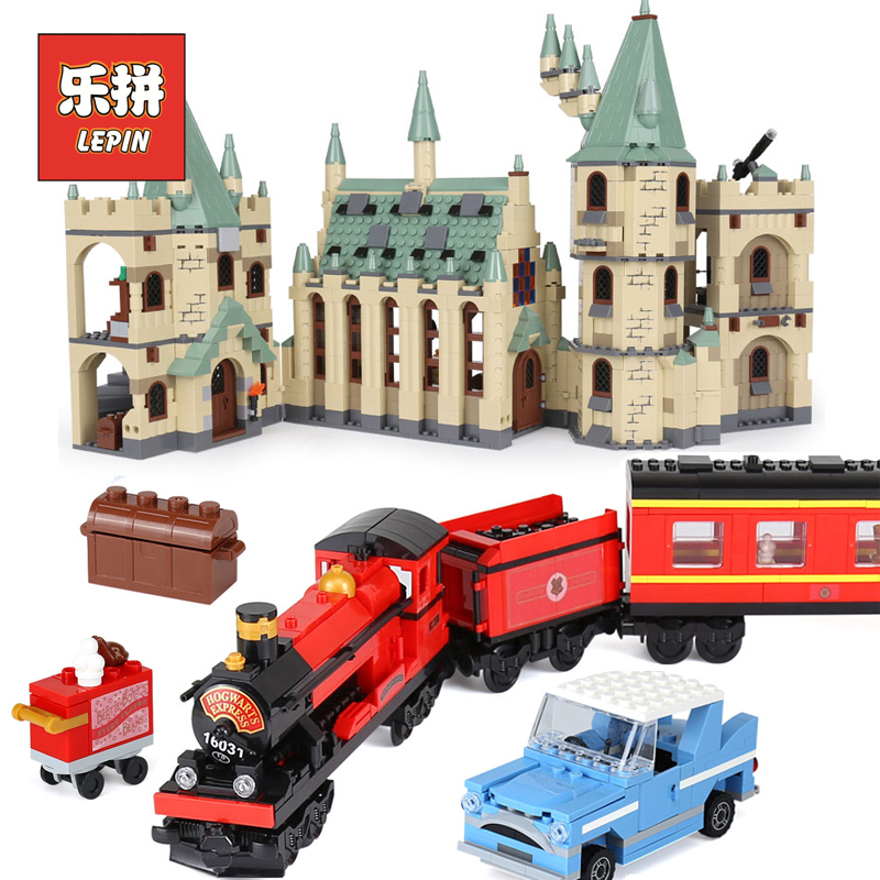 Lepin 16030 the Hogwarts Castle 16031 Express Train Movies Building Block Bricks Compatible Legoings 4841 4842 Toys For Children lepin 15001 brick bank model building kits blocks bricks kits toy compatible with 10251
