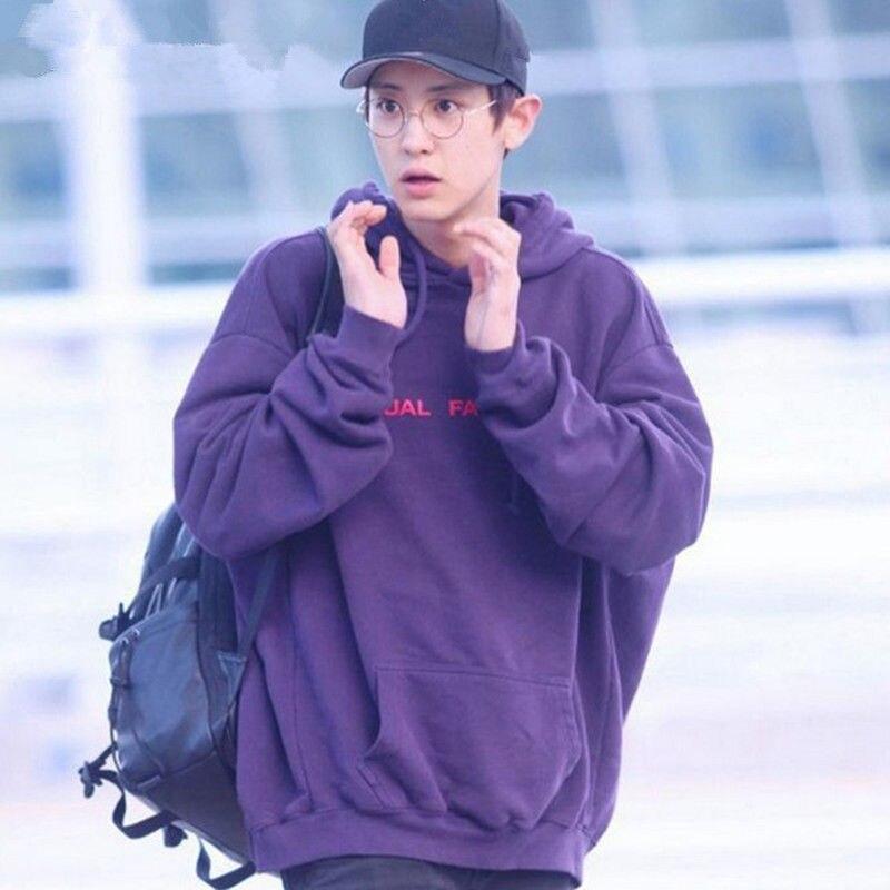 Mainlead KPOP EXO Chanyeol Cap Hoodie Sweatershirt Airport Fashion VIXX Ravi Purple