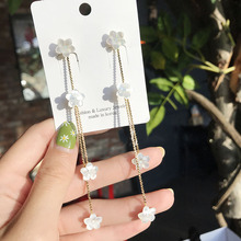 2019 New Arrival  Shell Trendy Geometric Women Dangle Earrings Korean Tassels Long Flowers Female Jewelry