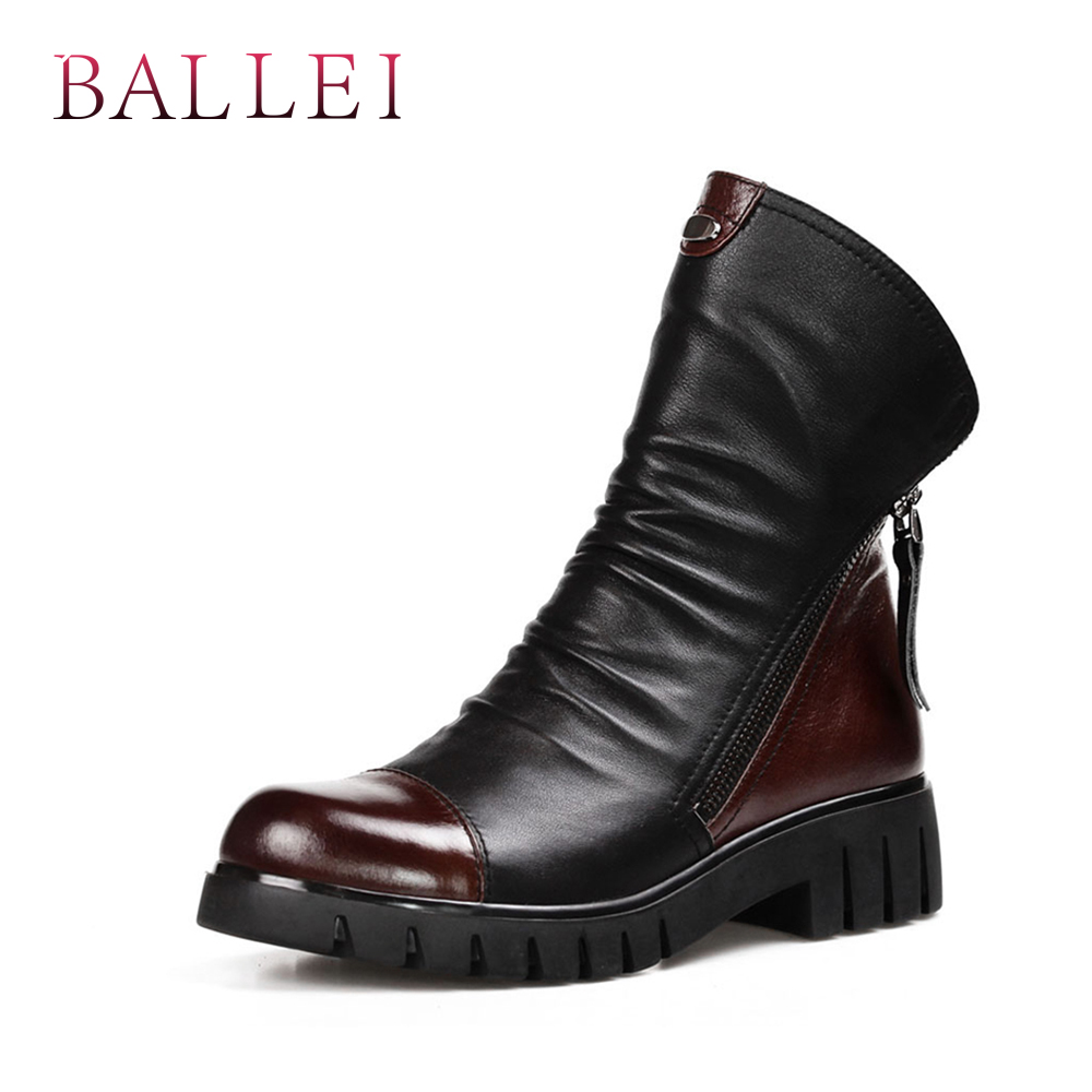 BALLEI Luxury Pleated Woman Ankle Boots High Quality Genuine Leather Black Round Toe Soft Low Heels Short Boots Warm Boots B14-in Ankle Boots from Shoes    1