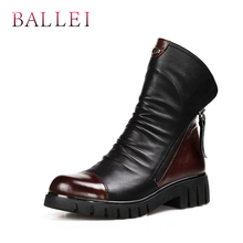 BALLEI Luxury Pleated Woman Ankle Boots High Quality Genuine Leather Black Round Toe Soft Low Heels Short Warm B14