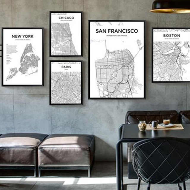 Zwart Wit World City Map Parijs Londen New York Poster Nordic Stijl Woonkamer Wall Art Picture Home Decor Canvas schilderen 1 PC