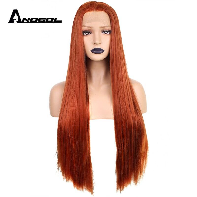 Anogol медь красный Высокое температура волокно натуральный длинные прямые средняя часть Оранжевый Синтетический синтетические волосы на кр...