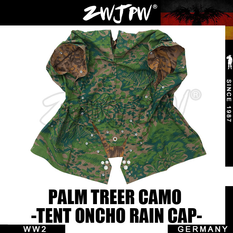 WWII WW2 PALM TREE Tent Army Military Outdoor Tactical Camo Poncho Raincoat DE/505114 naturehike factory sell outdoor mountaineering walking 3 in 1 poncho triad to groundsheet awning raincoat outdoor raincoat