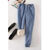 Autumn Winter Women Long Trousers Warm Thick Velvet Harem Pants Female Elastic Waist Sweatpants Fleece Cotton Casual Pant AB658 2